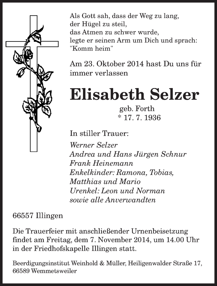 Traueranzeige für Elisabeth Selzer vom 05.11.2014 aus saarbruecker_zeitung