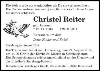 Zur Gedenkseite von Christel