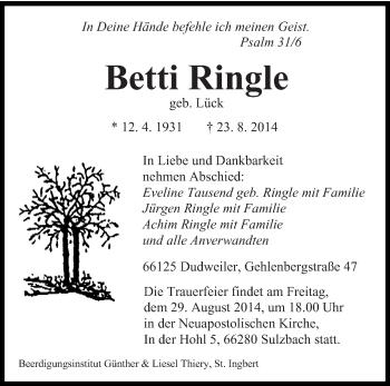 Zur Gedenkseite von Betti