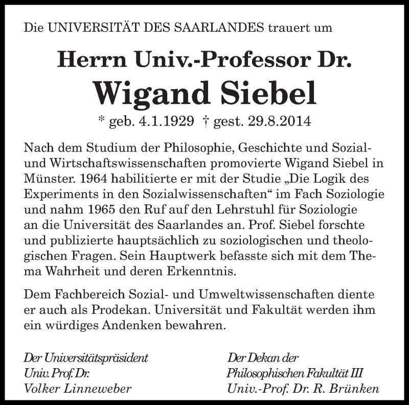 Traueranzeige für Wigand Siebel vom 08.09.2014 aus saarbruecker_zeitung