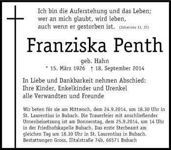 Zur Gedenkseite von Franziska