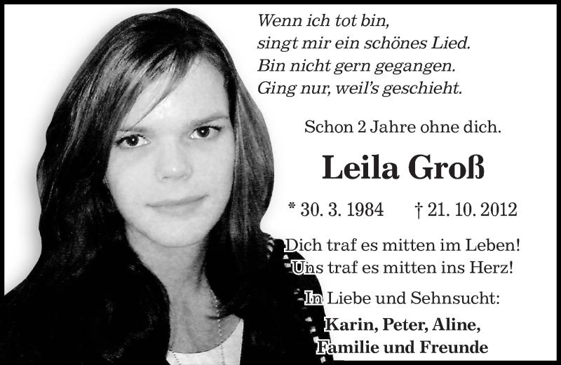 Traueranzeige für Leila Groß vom 21.10.2014 aus saarbruecker_zeitung