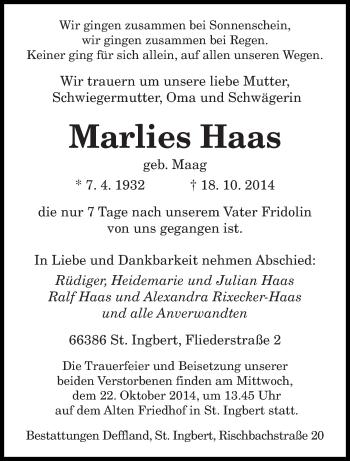 Zur Gedenkseite von Marlies