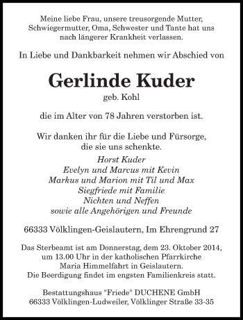 Zur Gedenkseite von Gerlinde