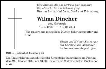 Zur Gedenkseite von Wilma