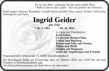 Zur Gedenkseite von Ingrid Geider