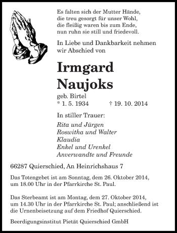 Traueranzeige von Irmgard Naujoks von saarbruecker_zeitung
