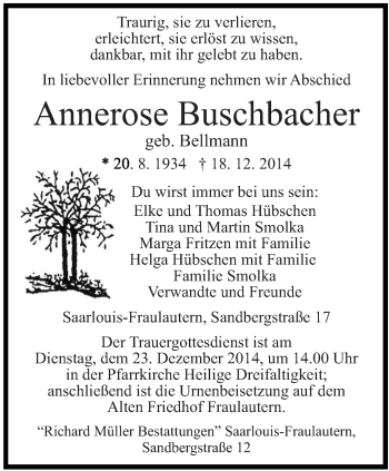 Zur Gedenkseite von Annerose