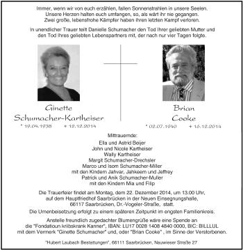 Zur Gedenkseite von Ginette und Brian