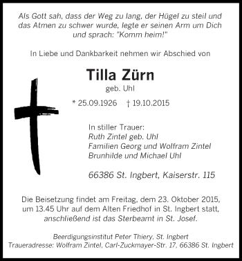 Traueranzeige von Tilla Zürn von saarbruecker_zeitung