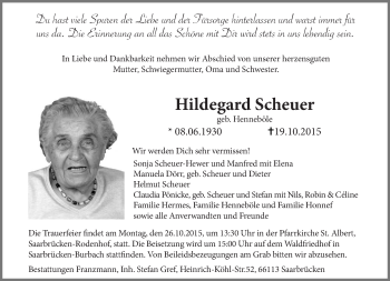 Traueranzeige von Hildegard Scheuer von saarbruecker_zeitung