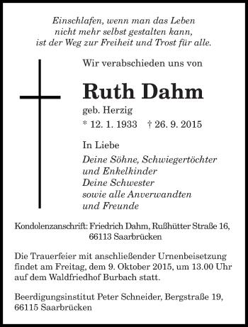 Traueranzeige von Ruth Dahm von saarbruecker_zeitung