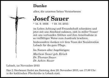 Traueranzeige von Josef Sauer von saarbruecker_zeitung