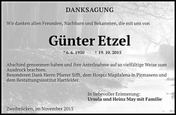Traueranzeige von Günter Etzel von saarbruecker_zeitung