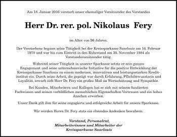 Traueranzeige für Nikolaus Fery vom 23.01.2016 aus saarbruecker_zeitung