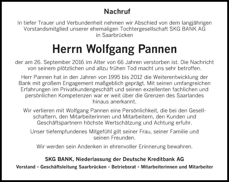 Traueranzeige für Wolfgang Pannen vom 08.10.2016 aus saarbruecker_zeitung