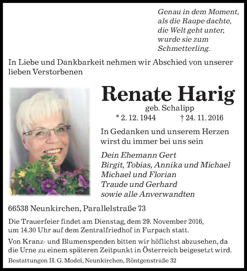 Traueranzeige für Renate Harig vom 26.11.2016 aus saarbruecker_zeitung