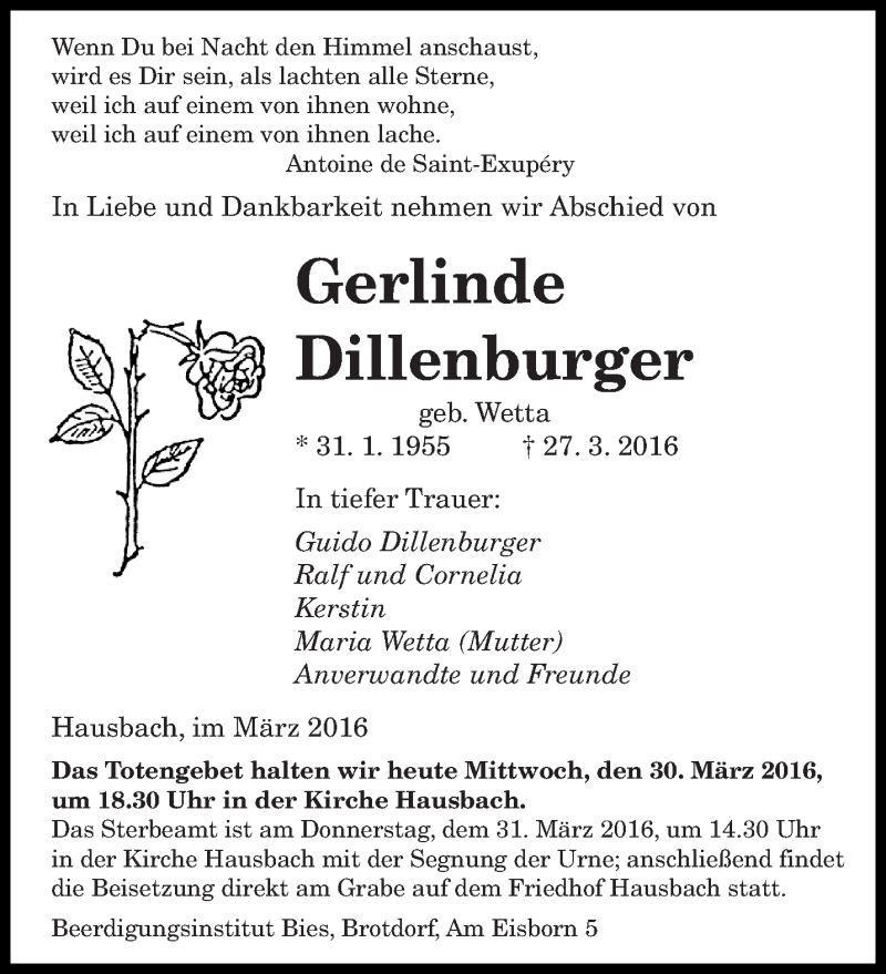 Traueranzeige für Gerlinde Dillenburger vom 30.03.2016 aus saarbruecker_zeitung