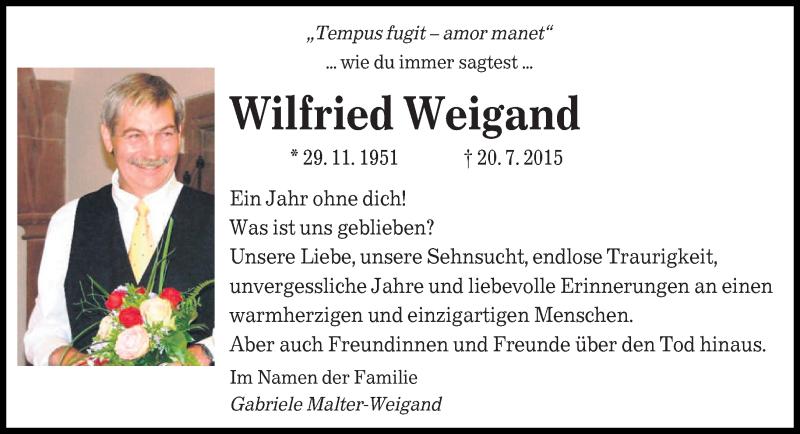 Traueranzeige für Wilfried Weigand vom 20.07.2016 aus saarbruecker_zeitung