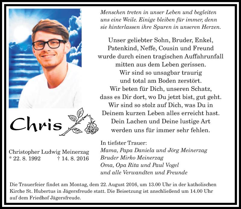 Traueranzeige für Christopher Ludwig Meinerzag vom 20.08.2016 aus saarbruecker_zeitung