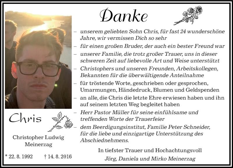 Traueranzeige für Christopher Ludwig Meinerzag vom 10.09.2016 aus saarbruecker_zeitung