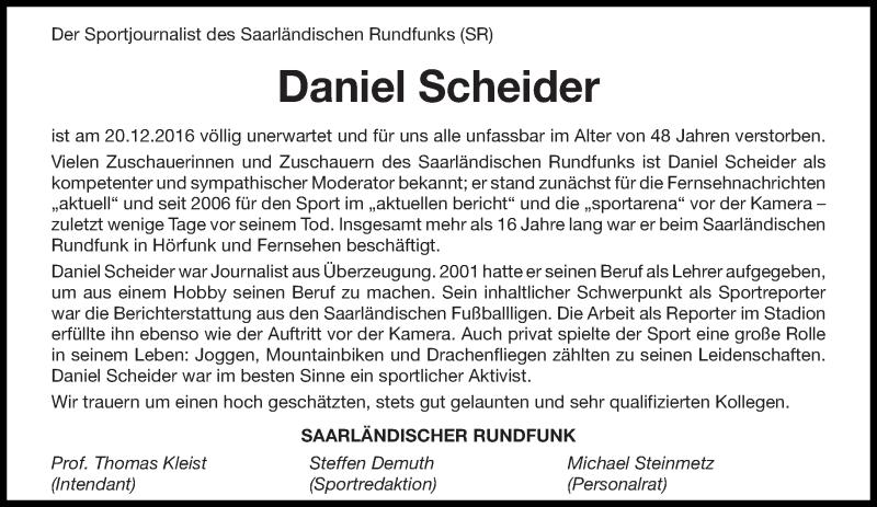 Traueranzeige für Daniel Scheider vom 02.01.2017 aus saarbruecker_zeitung