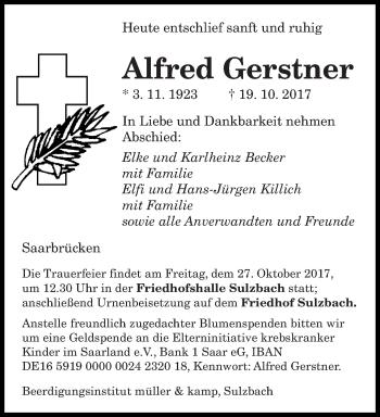 Traueranzeige von Alfred Gerstner von saarbruecker_zeitung