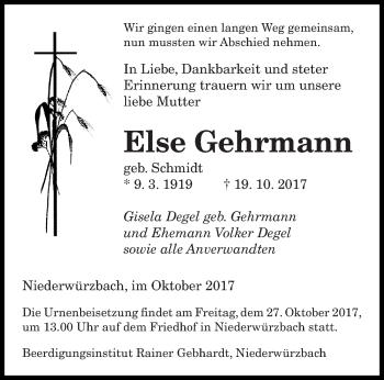 Traueranzeige von Else Gehrmann von saarbruecker_zeitung