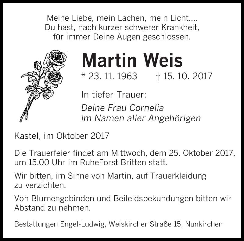 Traueranzeige für Martin Weis vom 21.10.2017 aus saarbruecker_zeitung