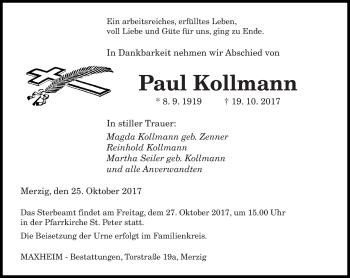 Traueranzeige von Paul Kollmann von saarbruecker_zeitung