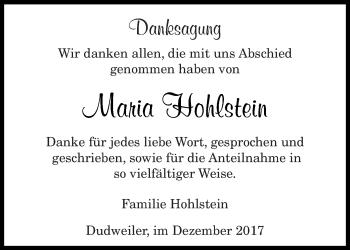 Traueranzeige von Maria Hohlstein von saarbruecker_zeitung