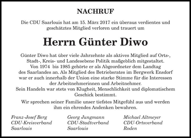 Traueranzeige für Günter Diwo vom 25.03.2017 aus saarbruecker_zeitung