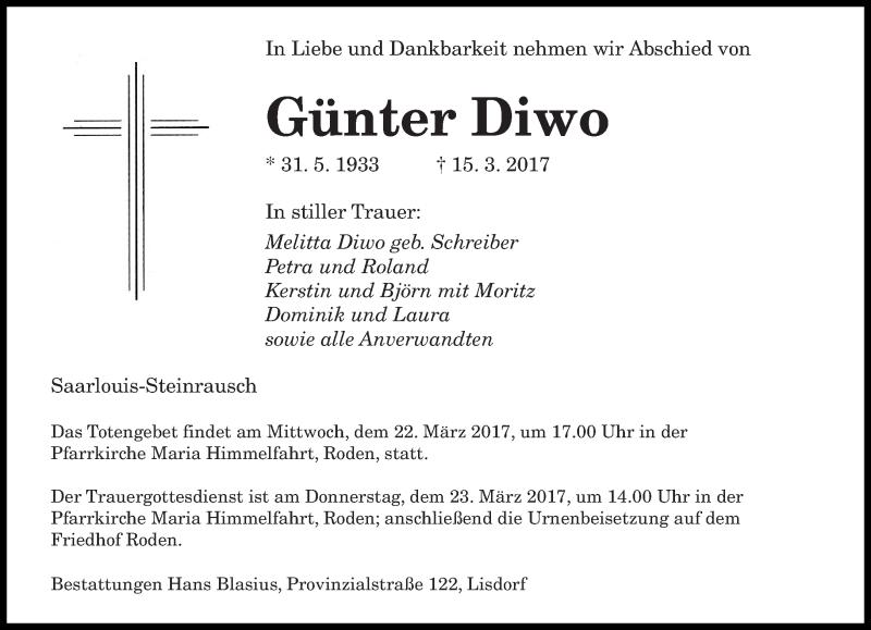 Traueranzeige für Günter Diwo vom 18.03.2017 aus saarbruecker_zeitung