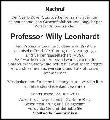 Traueranzeige für Willy Leonhardt vom 22.06.2017 aus saarbruecker_zeitung