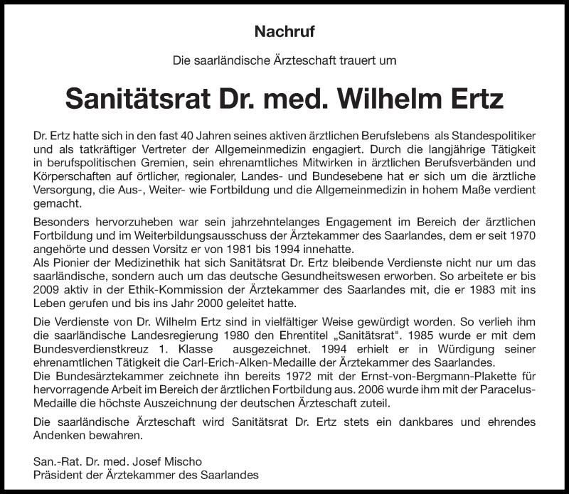 Traueranzeige für Wilhelm Ertz vom 24.06.2017 aus saarbruecker_zeitung