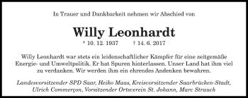 Traueranzeige für Willy Leonhardt vom 21.06.2017 aus saarbruecker_zeitung