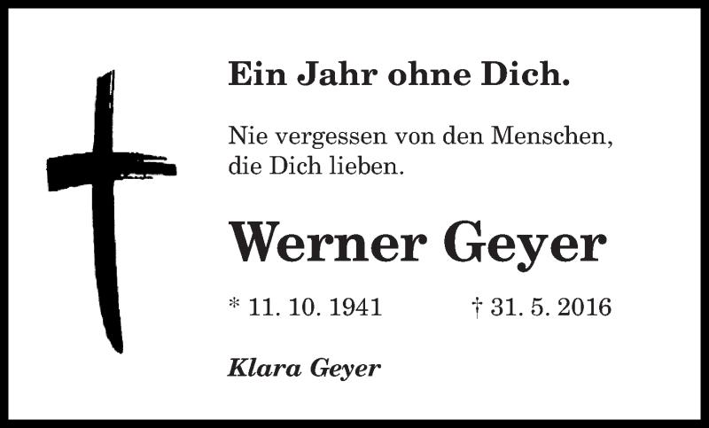 Traueranzeige für Werner Geyer vom 31.05.2017 aus saarbruecker_zeitung