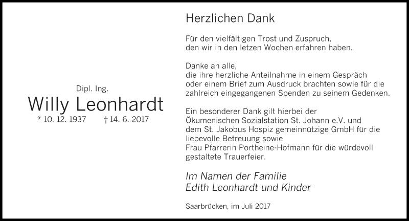 Traueranzeige für Willy Leonhardt vom 21.07.2017 aus saarbruecker_zeitung