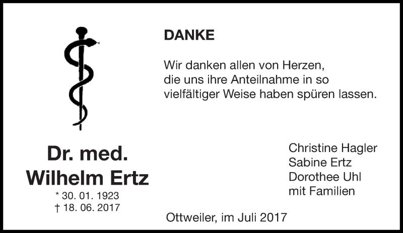 Traueranzeige für Wilhelm Ertz vom 15.07.2017 aus saarbruecker_zeitung