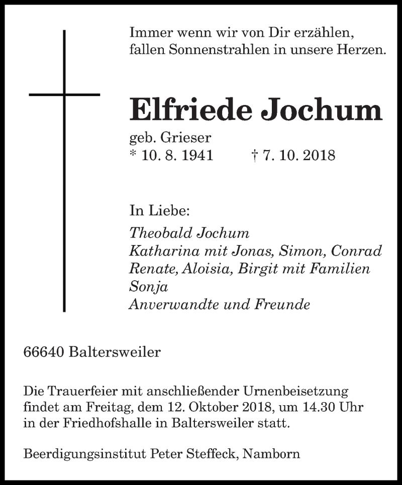 Traueranzeige für Elfriede Jochum vom 10.10.2018 aus saarbruecker_zeitung