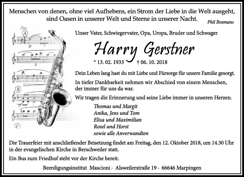 Traueranzeige für Harry Gerstner vom 10.10.2018 aus saarbruecker_zeitung