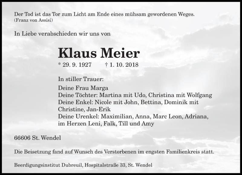 Traueranzeige für Klaus Meier vom 10.10.2018 aus saarbruecker_zeitung