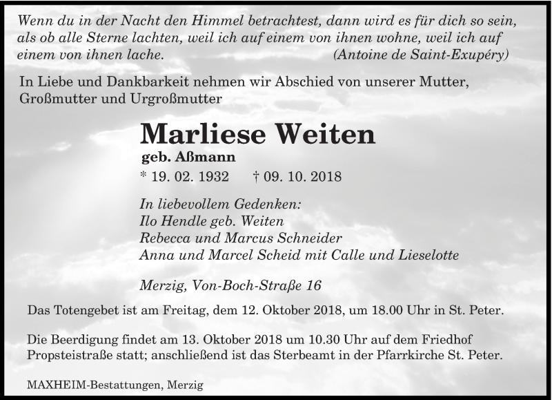 Traueranzeige für Marliese Weiten vom 10.10.2018 aus saarbruecker_zeitung
