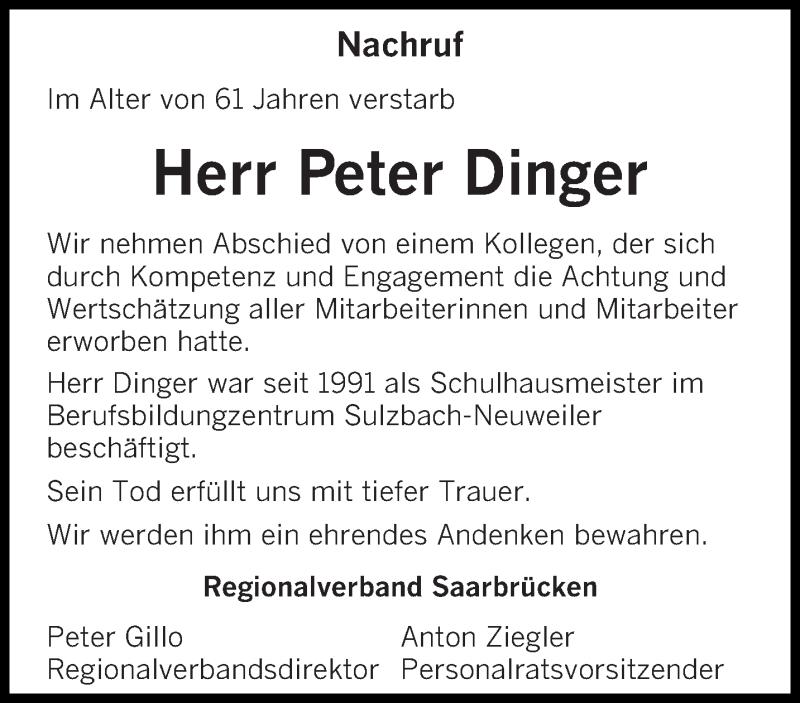 Traueranzeige für Peter Dinger vom 20.10.2018 aus saarbruecker_zeitung
