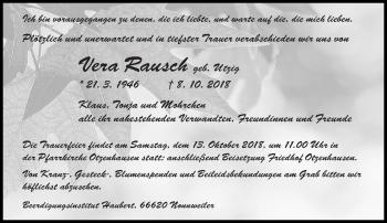 Traueranzeige für Vera Rausch vom 10.10.2018 aus saarbruecker_zeitung