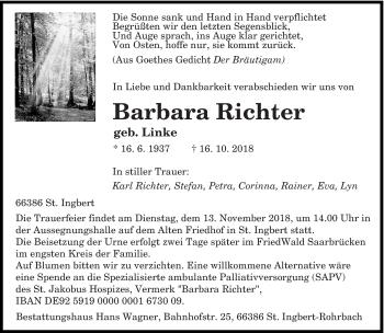 Traueranzeige für Barbara Richter vom 07.11.2018 aus saarbruecker_zeitung