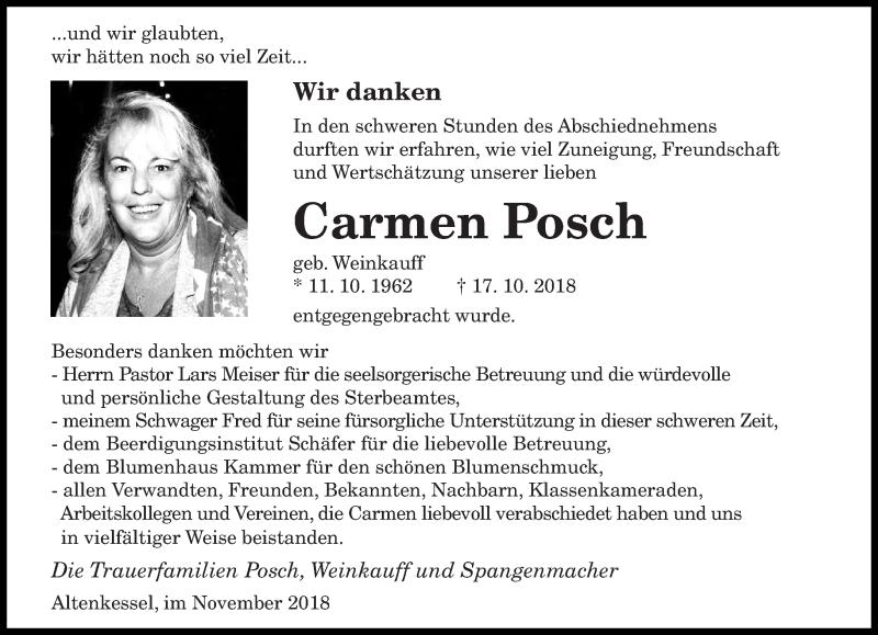 Traueranzeige für Carmen Posch vom 03.11.2018 aus saarbruecker_zeitung