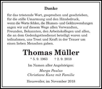 Traueranzeige für Thomas Müller vom 03.11.2018 aus saarbruecker_zeitung