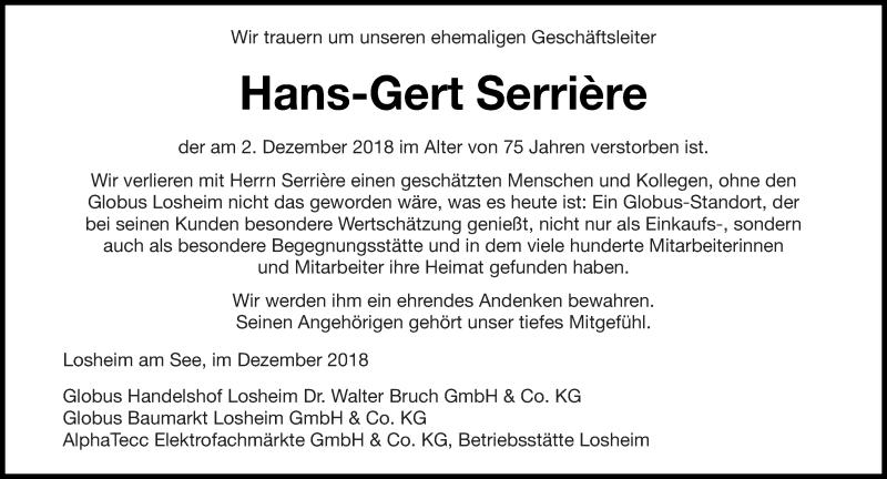 Traueranzeige für Hans-Gert Serrière vom 06.12.2018 aus saarbruecker_zeitung