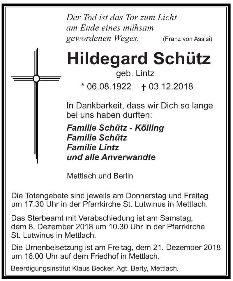 Traueranzeige für Hildegard Schütz vom 06.12.2018 aus saarbruecker_zeitung